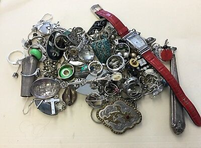"Lot Of Sterling Silver 925 Scrap Jewelry-""As Is""  11.8 OZT WW2"