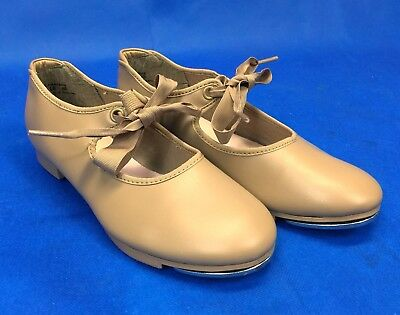 Capezio Tap Dance Shoes Girls Size 2 1/2 M Slip On Front Ribbon Tie Beige