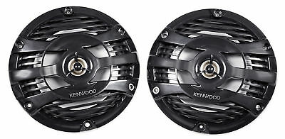 "Pair Kenwood KFC-1653MRB 6.5"" 300 Watt Waterproof Marine Boat Speakers - Black"