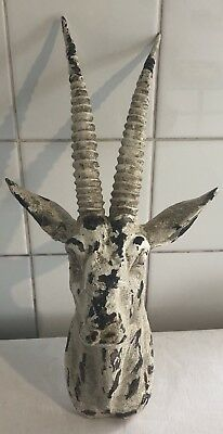 Large Antique Black Forest Carved Wooden Antelope Head c1900 Wall Mounted