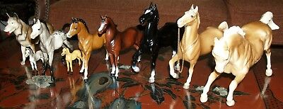 Vintage Lot 8 Collectible Beautiful Toy Horses by Breyer Molding Co & Cool Dog