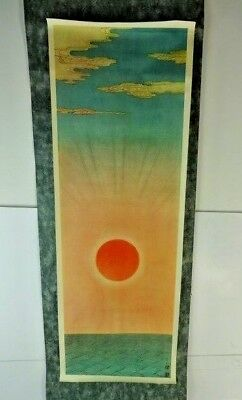 """Vintage JAPANESE HANGING SCROLL ART Painting """"Rising Sun"""" Asian antique (Signed)"""