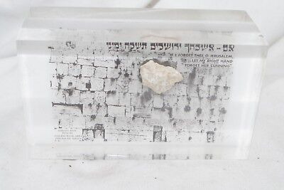 Authentic Stone from Wailing Wall Jerusalem Israel Lucite Paperweight Judaica