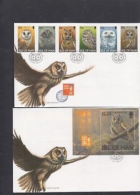 Isle of Man 1997 Owls stamps & MS First Day Cover FDC Douglas fdi h/s