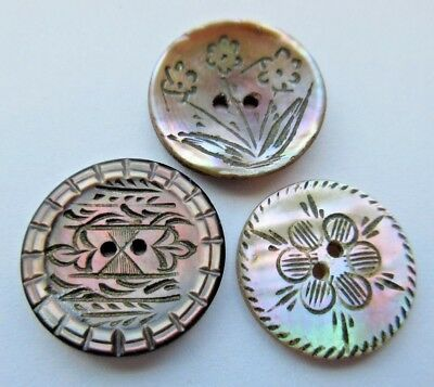 Lovely Lot of 3 Antique~ Vtg Victorian Carved MOP Shell BUTTON Incised (M2)