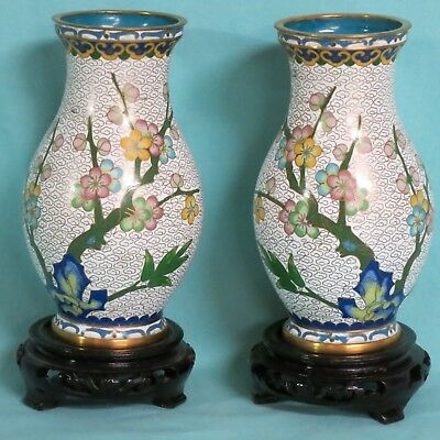 Pair of Vintage Chinese Cloisonne Vases -- NO RESERVE
