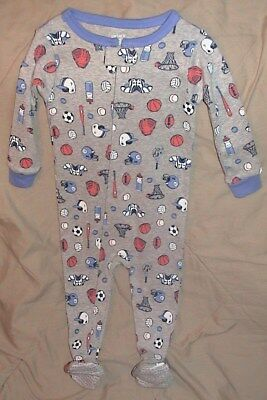 Carters Gray Footed Sleeper/sports Balls & Equipment-Size 12 Months-Nwt