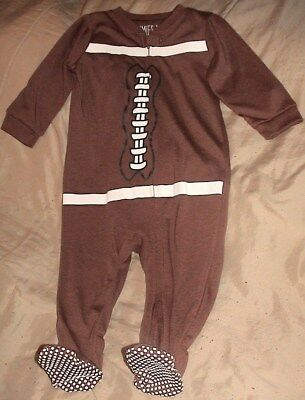 Jammies For Your Families-Football Sleeper/brown & White-Size 12 Months-Nwt