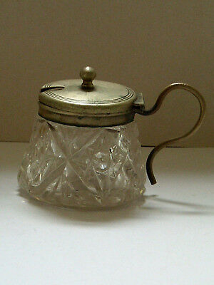 Vintage Glass Mustard Pot With Plated Lid