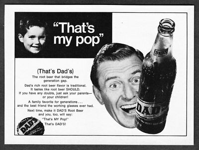 "1969 Dad's Root Beer Bottle photo ""That's My Pop"" vintage soda print ad"