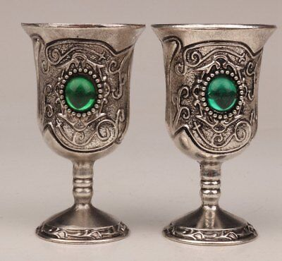 Tibet Silver Hand Inlaid Green Zircon Stone Embellishes High-Grade Wines Cup