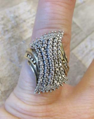 .10ctw Diamond / Sterling Silver Gold Plated Cocktail Ring ~ 7.8grams ~ 8-H7544