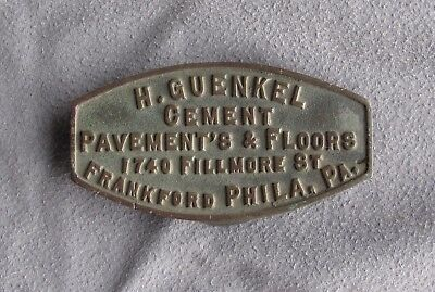 Early Bronze Architectural Advertising Plaque Guenkel Cement Philadelphia PA