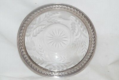 Antique Engraved Cut Crystal or Glass Plate Signed Sterling Silver Rim 5958