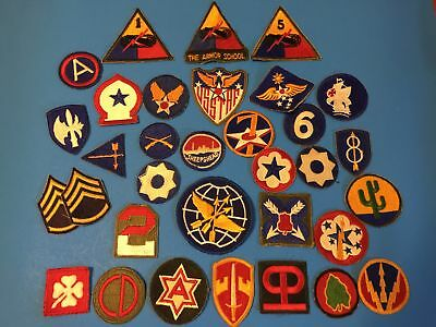 Wwii Era Us Army, Aac, & Aaf Patch Lot Of 33 - Primarily Cut Edge - A Few Later