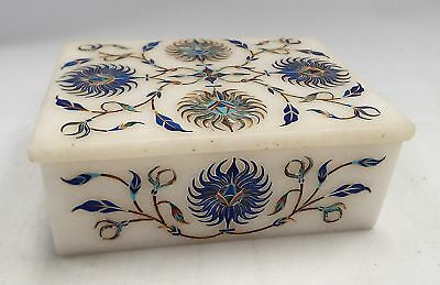 Hand Crafted MARBLE Trinket Box With Decorative Inlaid Pearl And Lapis - W74