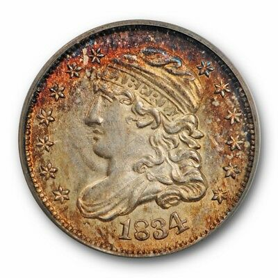 1834 H10C Capped Bust Half Dime PCGS MS 63 Uncirculated Toned Beauty Pretty !