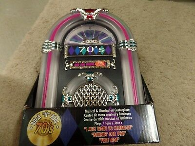 Jukebox 70's Musical & Illuminated Centerpiece, 3 Songs, Rock n Roll, New in Box