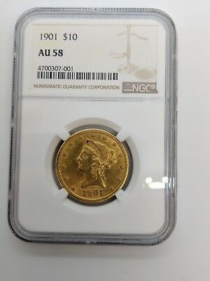 1901 Liberty Head $10 Gold Coin NGC AU 58 - 4700307-001