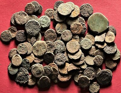 Lot of 100 Ancient Roman Bronze Fragment Coins, AE3, AE4 #30