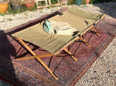 Original WW2 Officers Camp Bed Bench Seat By 'X-Frame' 1940's Campaign Furniture
