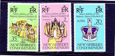 New Hebrides, British #214-216  1977  Qeii  25Th Anniv.  Mint  Vf Nh  O.g