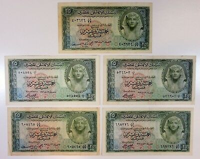 National Bank of Egypt 25 Piastres 1952-1955 P-28 (5 pcs, F to VF)