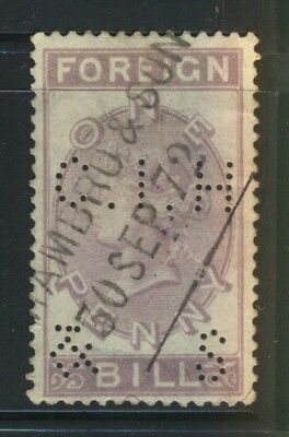 Vintage Old Time British Foreign Bill One Penny Stamp