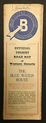 circa 1938 BLUE WATER HIGHWAY ASSOCIATION ROAD MAP of WESTERN ONTARIO