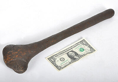 "Vintage Tribal Ceremonial Wood Stone Leather Hide War Axe Club Hammer 18"" Long"