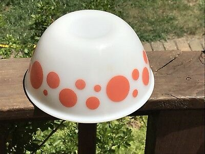 "Vintage Orange Polka Dot Hazel Atlas Mixing Bowl 8 1/4"" X 4"""