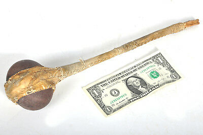 "Vintage Tribal Ceremonial Wood Stone Leather Hide War Axe Club Hammer 15"" Long"