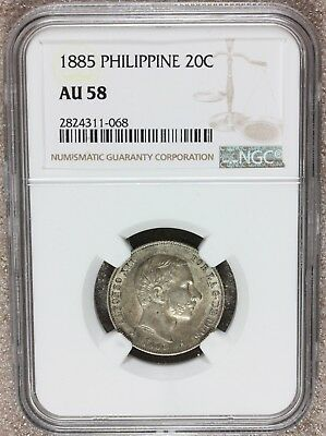 1885 Philippines 20 Centimos Silver Coin - NGC AU 58 - KM# 149