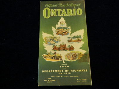 Vintage Official 1956 Ontario Province Canada Highway Road Map