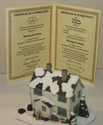 1995 Norman Rockwell Waiting For Santa Christmas House Statue Mint w/ COA