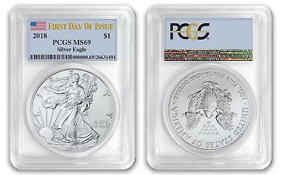 2018 $1 American Silver Eagle Dollar PCGS MS69 First Day of Issue FDOI