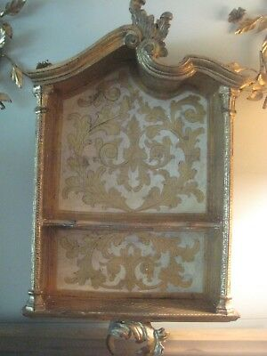 Vintage Italian Florentine Gold and Cream WALL SHELF CABINET HUTCH Wood Gilt