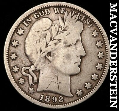 1892 Barber Half Dollar - Scarce!!  Better Date!!  #b10