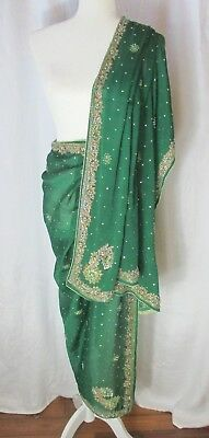Dupatta Crepe Scarf Evening Wrap Green Embroidered Sequins Beads Rhinestones