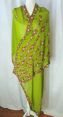 Dupatta Scarf Evening Wrap Olive Green Chiffon Embroidered Beads Sequins Jewels