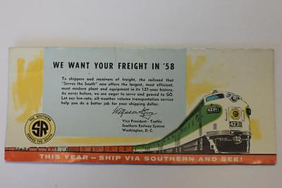 "Vintage Ink blotter Advertising Southern Railway ""We Want your Freight in '58"""