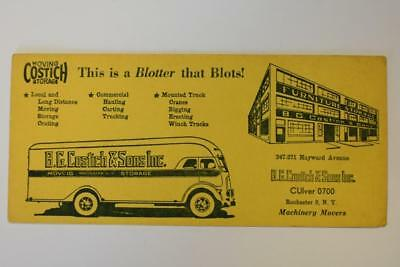 Vintage Ink blotter Advertising B.G Costich & Sons Machinery Movers
