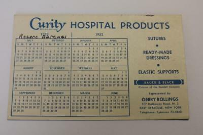 Vintage Ink blotter 1953 advertising Curity Hospital Products