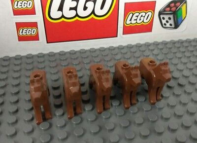 Lego Animal Dog Wolf Reddish Brown Lot of 5 NEW Condition Pet Shop Kennel