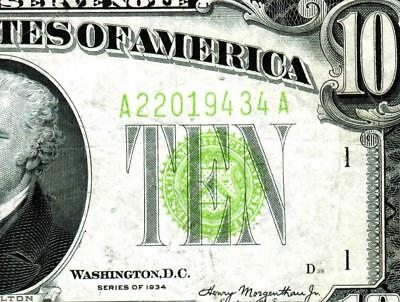 $10 1934 Vivid Green (( LIGHT GREEN SEAL ))  FRN ** MORE CURRENCY FOR SALE **