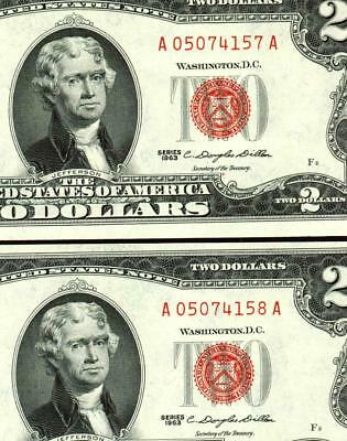 (( TWO CONSECUTIVE )) $2 1963 United States Note ** MORE CURRENCY FOR SALE **