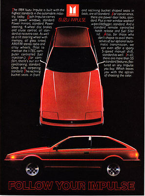 "1984 red Isuzu Impulse Coupe photo ""Follow Your Impulse"" promo car print ad"