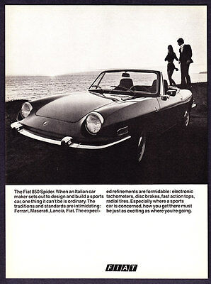 "1971 Fiat 850 Spider Convertible photo ""Expected Refinements"" promo print ad"