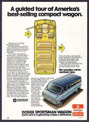 "1975 Dodge Sportsman Wagon photo ""A Guided Tour"" promo print ad"