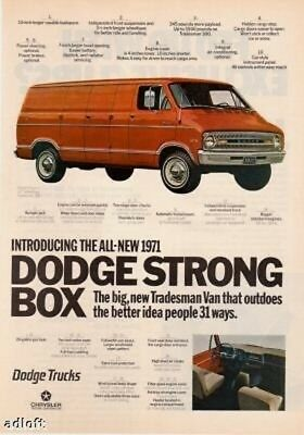 "1971 Dodge Tradesman Van photo ""31 Better Ideas"" vintage print ad"